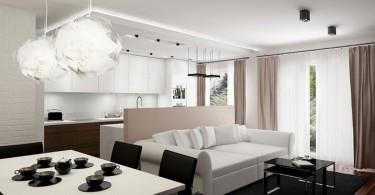 Маленькая квартира-студия в чёрно-белом цвете