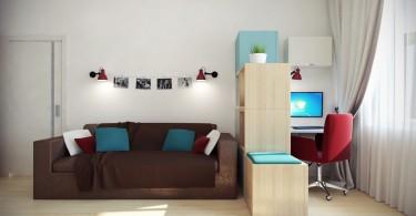Шоколадный диван в интерьере светлой гостиной