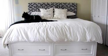 Современный дизайн кровати с ящиками