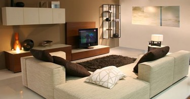 Интерьер гостиной в коричневой гамме