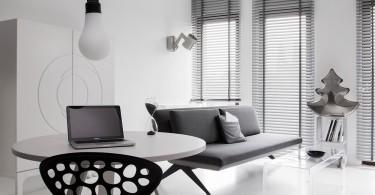 Интерьер гостиной в бело-сером цвете