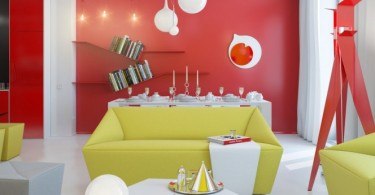 Интерьер гостиной в ярких цветах