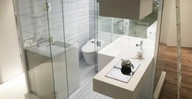 Ванная комната в стеклянной коробке