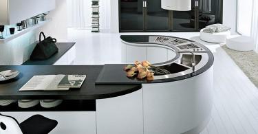 Интерьер кухни с круглым гарнитуром