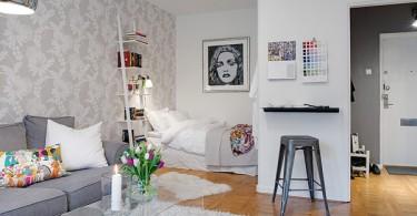 Интерьер студии в бело-серых тонах
