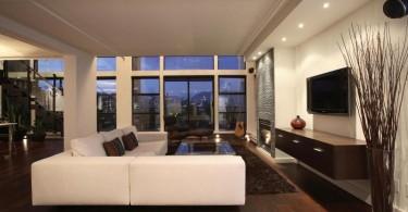 Интерьер просторной современной гостиной
