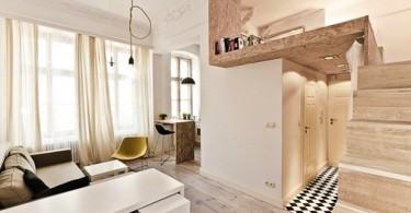 Интерьер двухуровневой однокомнатной квартиры