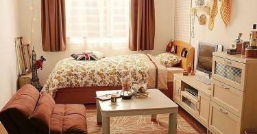 Интерьер маленькой спальни в коричневой палитре