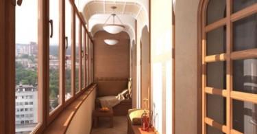 Интерьер балкона с панорамными окнами