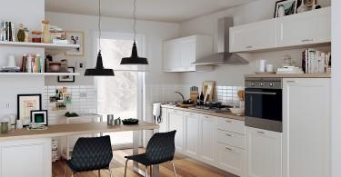 Интерьер миниатюрной кухни в белом цвете