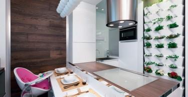 Интерьер небольшой кухни и столовой