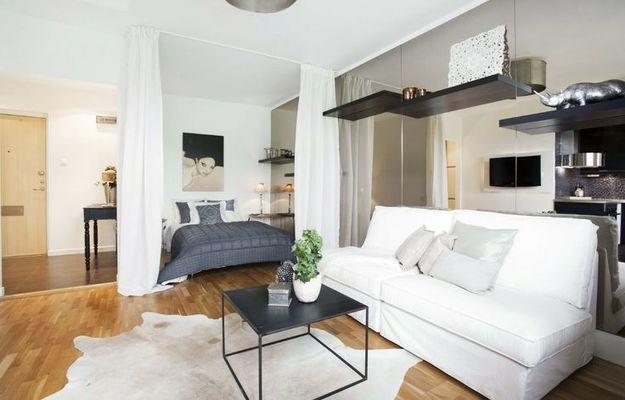 Спальня гостиная - как правильно совместить две зоны: http://interiorsmall.ru/spalnya-gostinaya/