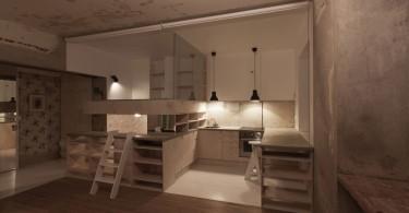 Интерьер квартиры-студии в промышленном стиле