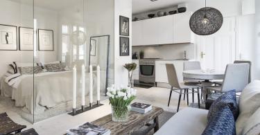 Интерьер маленькой зонированной квартиры