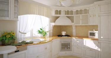 Деревянный кухонный гарнитур в белом цвете