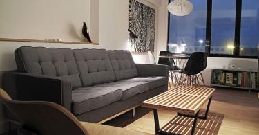Интерьер гостиной в чёрно-белом цвете