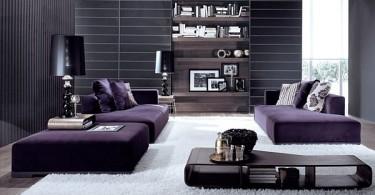 Интерьер гостиной в чёрно-фиолетовом цвете
