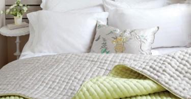 Зелёные акценты в интерьере спальни