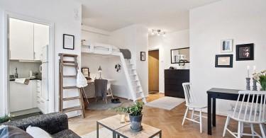 Интерьер маленькой студии в чёрно-белом цвете
