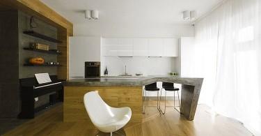 Натуральные материалы в интерьере небольшой квартиры-студии
