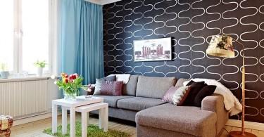 Акцентная стена в интерьере гостиной