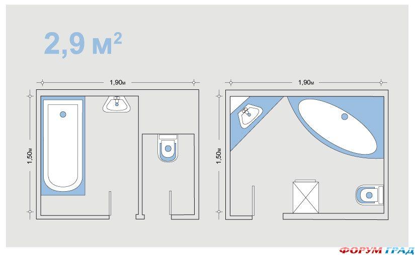 Дизайн ванной комнаты с размерами