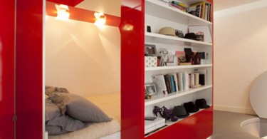 Кровать-офис ярко-красного цвета