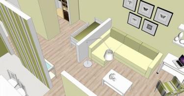 План гостиной в салатовом цвете