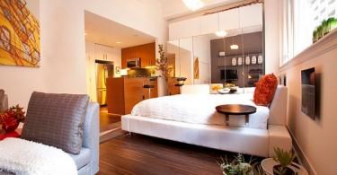Интерьер спальни в тёплых тонах