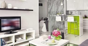 Интерьер гостиной в белом цвете с салатовыми акцентами