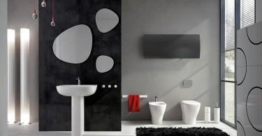 Чёрные акценты в оформлении ванной комнаты