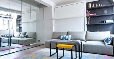 Яркие акценты в интерьере светлой гостиной