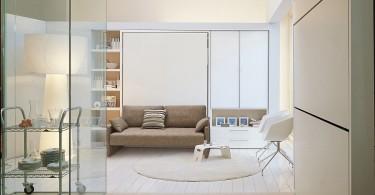 Интерьер компактной гостиной в светлых тонах