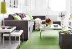 Интерьер гостиной в бело-салатовых цветах