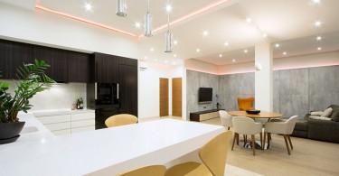 Точечное освещение в квартире-студии