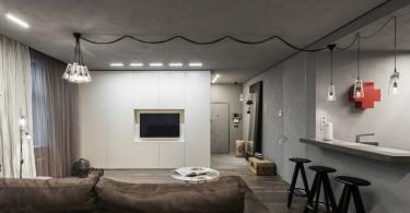 Интерьер гостиной в промышленном стиле