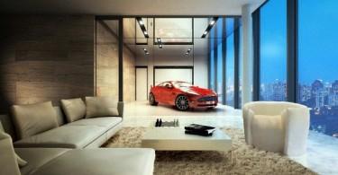Дизайнерский гараж с видом на город