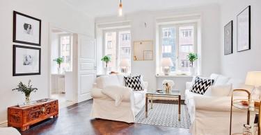 Интерьер небольшой гостиной в белом цвете