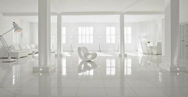 Интерьер квартиры-студии в белоснежном цвете