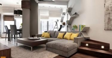 Интерьер гостиной в естественной гамме