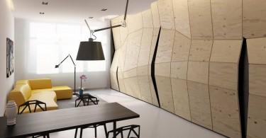 Необычный дизайн шкафа в гостиной
