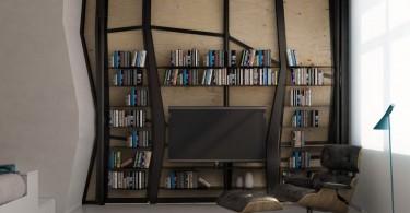 Необычный книжный шкаф в гостиной
