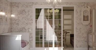 Лиловые акценты в белой гостиной