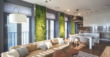 Живые стены в интерьере гостиной
