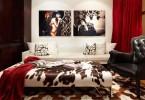 Интерьер гостиной в красно-белом цвете
