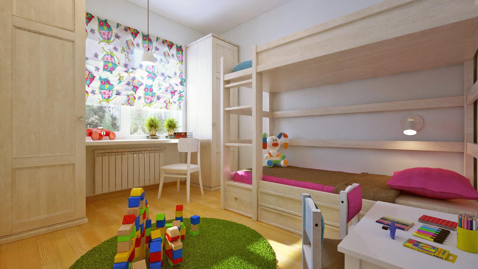Как обустроить детскую комнату для двух детей 15