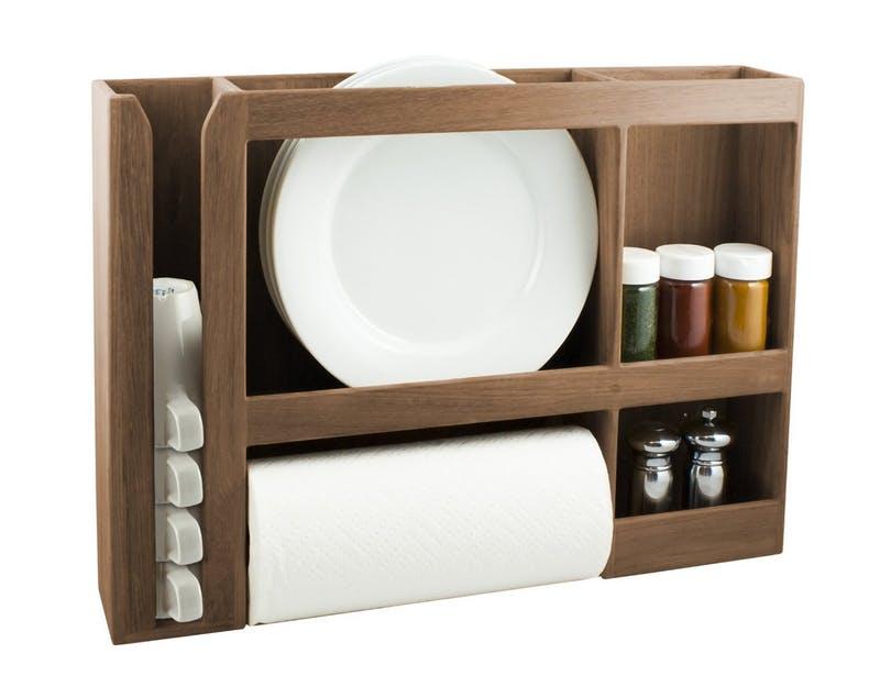Идея хранения для маленькой квартиры. Деревянная стойка для посуды от SeaTek
