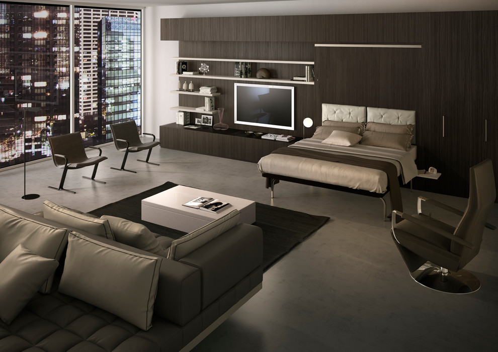 Современный стиль спальни с подъемной кроватью