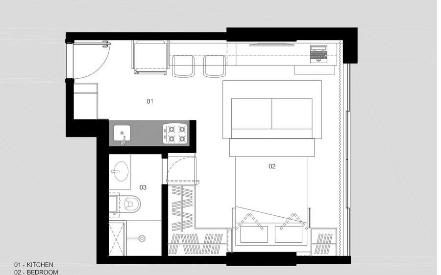 План небольшой квартиры в Бразилии с разложенной кроватью