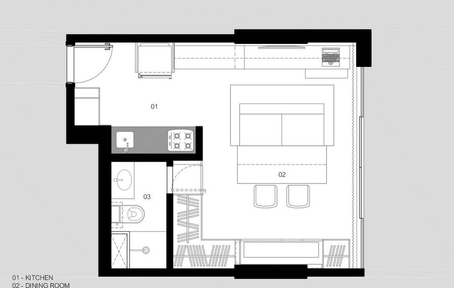 План небольшой квартиры в Бразилии для приёма гостей